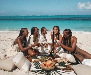 Friendship group at the beach